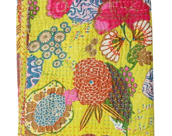Sangrahan Indian Handmade Quilt Vintage Tropican fruit print Kantha spread Throw Cotton Blanket Twin Gudri Quilt-3040