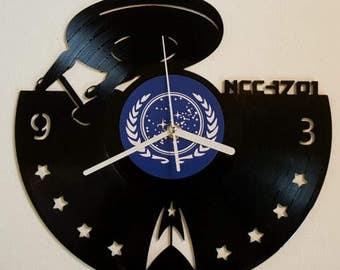 Vinyl Clock famous starship from the 60s, Christmas gift, Wall clock, vinyl record clock