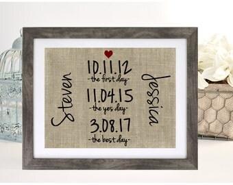 Bridal Shower Gift, Engagement Gift for Couple, Anniversary Gift, Burlap Print, Engagement Gift, Wedding Gift, Rustic Wedding