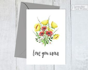 Mothers day gift Mothers day card Moms gifts Printable cards Mom gift Mom birthday card I love you mom gift Love you mom Card for mum
