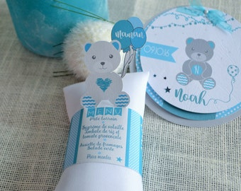 napkin ring, menu and mark place of baptism or birthday blue boy with Teddy bear
