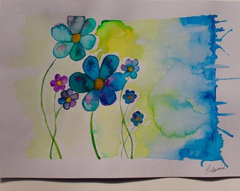 Dancing in the flowers. original watercolour painting