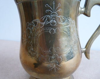 Engraved brass tankard