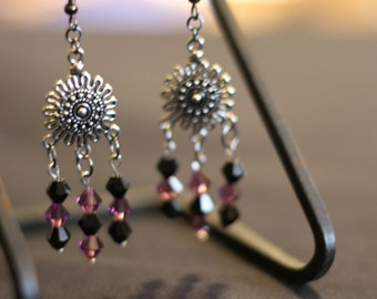 Black and Burgundy Crystal earrings with Pewter Sun