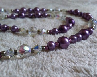 Purple beaded necklace - Delicate necklace - Purple and clear - Reflective - Spring necklace