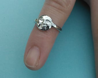 Sterling Silver Full Moon Face Ring