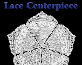 Garden Trellis Lace Centerpiece Filet Crochet Pattern