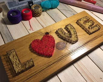Love in String-Quadro-Valentine's Day Gift Idea-String Art