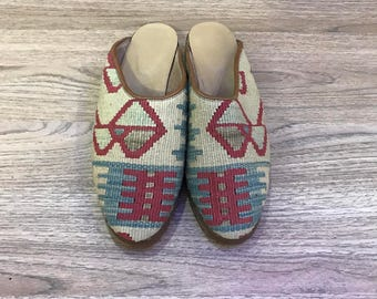 USA size is 10 EUROPA size is 40 Kilim slippers, kilim shoes, women slippers, slipper, handmade slippers