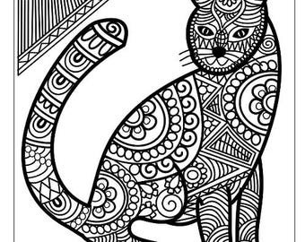 cat coloring page adult coloring page printable cat coloring digital printable mystical