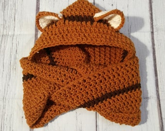 Crochet cowl, infinity scarf with hood, or scoodie with fox ears