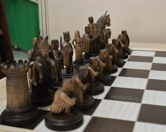 Chess 9th century - the Crusaders and Rusich. Chess table. Handmade.