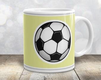Athletic Soccer Ball Mug - Sports Yellow - 11oz or 15oz