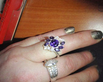 Amethyst and stunning cubic zirconia statement ring 925 sterling silver in excellent vintage condition