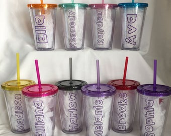 Personalized insulated cups with lid and straw. Custom to your party theme