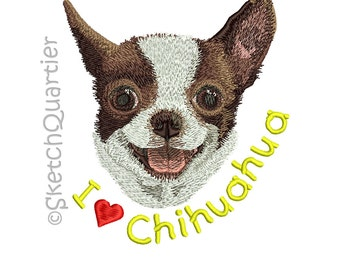 I love Chihuahua digital artwork set (embroidery effect) with transparent background for instant digital download.