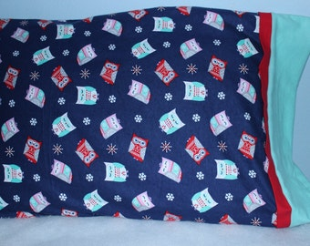 Adorable Owl Snuggle Flannel Standard Size Pillowcase