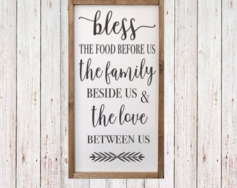 """Bless the food before us, the family beside us & the love between us - Dining Room Sign - Kitchen Decor - Grace -25 1/2"""" x 13"""""""