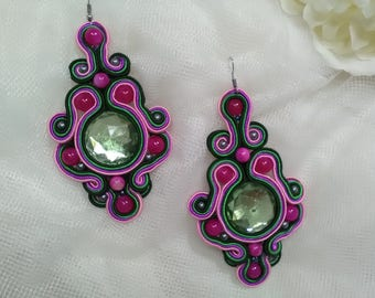 Flamenco earrings, pink and black green, soutache earrings, lady accessories, flamenco fashion, mother's Day
