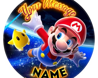 """Super Mario Inspired Personalised Cake Topper Decoration. Birthday Edible Icing  7.5"""""""