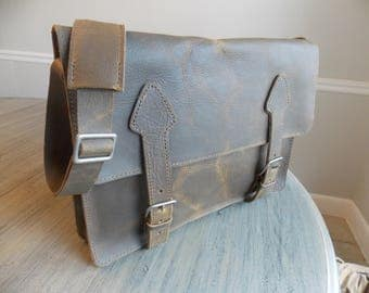 "Men's Leather Briefcase, Handmade, 15"" Laptop Messenger Bag"