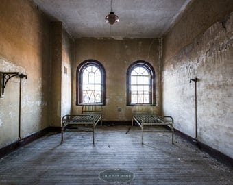A Room for Two - Urban Explorations- Abandoned Psychiatriac Hospital, urbex. insane asylum, patient room, sunlight, windows