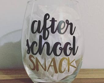 Teacher After School Snack Stemless Wine Glass - Teacher Gift / Back To School / Teacher Appreciation / Holiday / Birthday