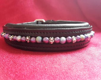 Dog Collar - Purple Rain - Purple pearls with stardust and silver beads mixed throughout on a black or brown padded leather collar