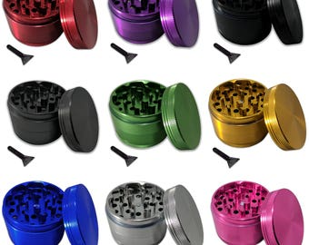"4 Piece 2.5"" Weed Grinder - Comes with Travel Pouch and Kief Scraper - Made with Anodized Aluminum"