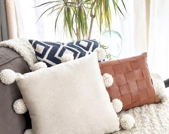 Handmade Pom Pom Throw Pillow, Natural/Cream