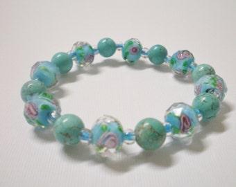Turquoise Blue Rose Stone Bracelet