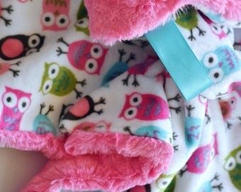 READY TO SHIP, Owls Lovey, Baby Girl Lovey, Pink Baby Blanket, Pink Lovey, Faux Fur Blanket, Baby Lovey, minky lovey, small blanket, baby