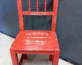 Old Ornate Farmhouse Chair in Distressed Red Paint