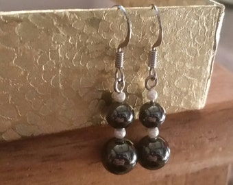 Black, faux pearls, beaded earrings