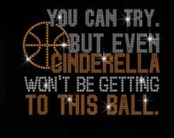 Basketball Cinderella  Rhinestone Iron on T Shirt Design                                   4T8B
