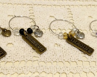 Wine Glass Charms UNIQUE Inspirational Words Gift