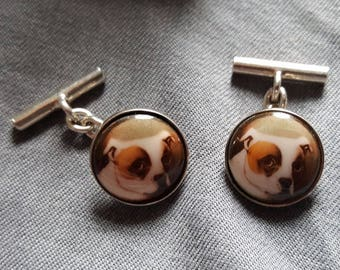 Silver and Enamel Bull Terrier Dog Cuff Links (UK FREE SHIPPING)