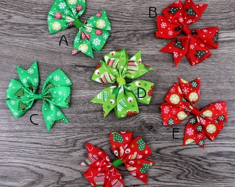 "3"" Dovetail Grosgrain Floral Ribbon Hair Bows with Clip Baby Girls Organza Hair Bows For Christmas Day Hair Accessories"
