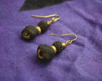 Banana Seed and Lava Rock Earrings
