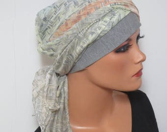 Head scarf Hat/TURBAN summery ideal headgear b. chemotherapy alopecia hair loss chemo Hat cancer cancer therapy convertible cloth