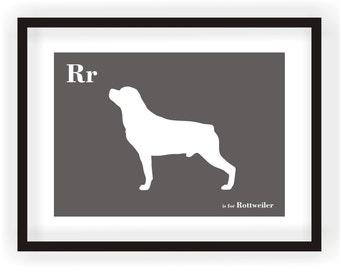 Rottweiler Print - Dog Art - Alphabet Breed Silhouette Rottweiler