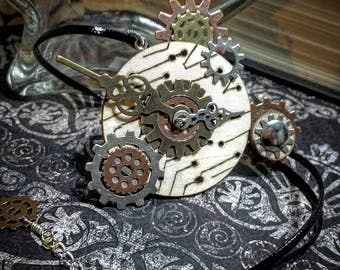 Steampunk Necklace , Wooden Clock Necklace , Time Necklace , Gear Necklace , Woodburning Circuit Board Necklace , Steampunk jewelry , Clock