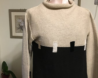 Vintage Cowl Neck Sweater with a beige top and black bottom