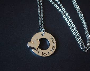 silver tone i love you more necklace