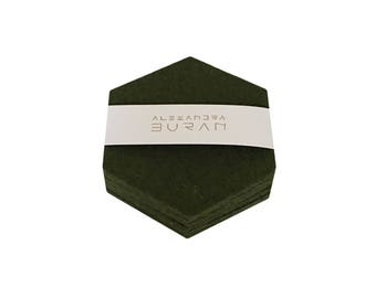 set of 6 coasters loden green mottled hexagon filz 100% merino of wool felt 3-4 mm hand-stamped coaster 10 cm emerald green emerald green