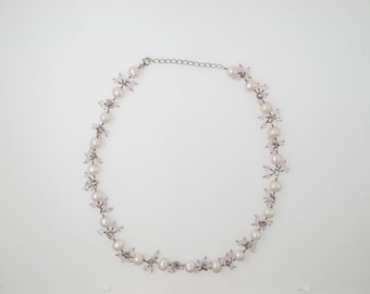 Brilliant HandCraftsmanship Ladies Sterling Silver 925 Necklace with Fresh Water Pearls and Pink Crystals