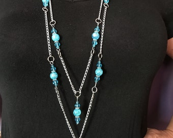 Teal Beaded Multi-Strand Chain Necklace