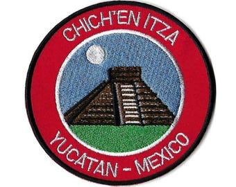 Chichen Itza Yucatan Mexico Patch Embroidered Iron or Sew on Badge Applique El Castillo Mayan Temple Souvenir Rare