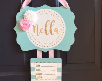 Hospital Door Hanger Personalized, Custom Door Hanger, Baby Name Sign