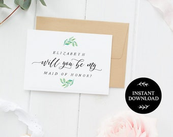 Will You Be My Bridesmaid Printable Card, INSTANT DOWNLOAD DIY Ask to be Bridesmaid, Maid of Honor, Flower Girl, pdf editable Blissa